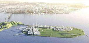 A $1.7 billion Chinese loan deal to fund development of Treasure Island (pictured) and Hunters Point has collapsed.