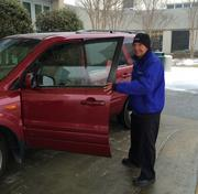 Oleg Tschekunow, a valet parking attendant at Cone Health Cancer Center in Greensboro, as the snow started Wednesday.