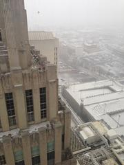Patrick Turner, the chief technology officer at Small Footprint Inc., captured the first snowflakes hitting the R.J. Reynolds building in downtown Winston-Salem