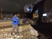 Triad television stations were hard at work too. Here WXII's DavidJeannot prepares for a live shot early Thursday morning.