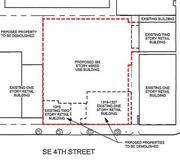 The building preserved is along South South Fourth Street. The red dotted line is where Doran plans the hotel.