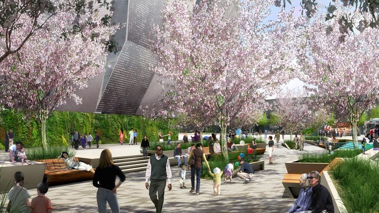 The Sacramento Planning and Design Commission on Thursday gave a green light to construction of an arena downtown for the Sacramento Kings. Seen in this rendering is a plaza outside the proposed project.