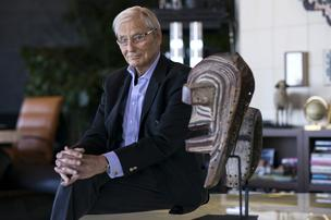 Tom Perkins, co-founder of Kleiner Perkins Caufield & Byers, sits for a photograph in his home in San Francisco.