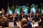 Panelists from left: Phil Brown, executive director of the Greater Orlando Aviation Authority; VHB Southeast Regional Manager Michael Carragher; Lynx CEO John Lewis Jr.; All Aboard Florida President and COO Dan Robinson; and Port Canaveral CEO John Walsh