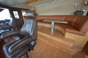 The seating area for guests on the bridge of the Arianna, a 164-foot Delta.