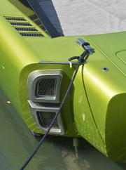 Close up of the stern of a Revolver boat.