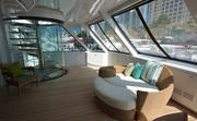The sun deck of the owner's room on the Arianna, a 164-foot Delta yacht.