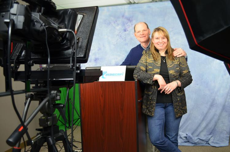Husband and wife Ron and Angela Horne opened a video production studio for their MediaScript LLC after six years of working mainly at client sites.