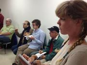 Mary Ward (foreground), who is biohacker in residence at Berkeley BioLabs, at others at Thursday's meetup.