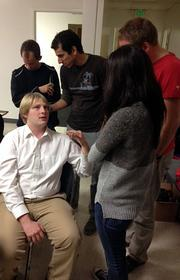 Potential users and volunteers at the biohacking space at Berkeley BioLabs at Thursday's meetup.