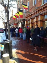 A line gathers outside Max's in Fells Point to enter the Belgian Beer Fest.