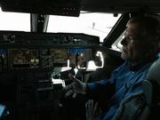 Jary Engels, Honeywell's chief test pilot in flight operations, in the cockpit of the G650.