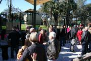 Guests gather for the ribbon-cutting ceremony for the new giraffe exhibit at the Central Florida Zoo in Sanford.