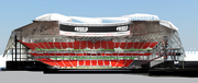 Cutaway view of seating fro sideline to sideline.