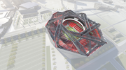 Aerial view from southwest, full cutaway internal roof structure.