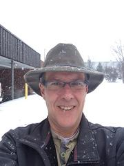 Tony Smith of Smith Case Inc. in Winston-Salem at work during the snowstorm.