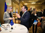 Antje Abshoff, Georgia's managing director for Europe, connects with a  local businessman.