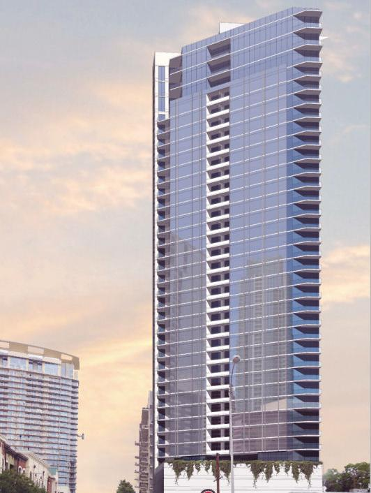 Austin developer Riverside Resources has plans to buy the site at the corner of West Fifth Street and West Avenue and build a 37-story, 306,555-square-foot, 163-unit highrise with 2,500 square feet of retail space.
