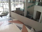 The Capella Tower lobby this week had a smattering of construction barriers in place and a closed off stairway.