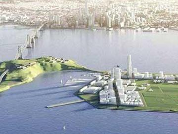 Treasure Island in San Francisco Bay is reportedly the home of a hulking barge that Google's building a secret project on.