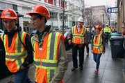 Students from Portland-area junior and senior high schools visit the Park Avenue West construction site in downtown as part of National Engineers Week.