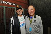 Joe Magaldi, left, liquor commissioner for City and County of Honolulu  and Eddie Onouye, husband of Great Aloha Run organizer Carole Kai.