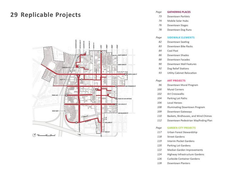 """The Downtown San Jose Street Life Plan (DSJSLP) proposes a menu of 29 """"a la carte"""" district-wide projects; it identifies 11 focus areas for these projects: Streets and routes of significant importance to the improvement of Downtown's public realm."""