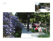 Balbach Street as a slow, pedestrian-oriented street with stormwater planters and a garden edge.