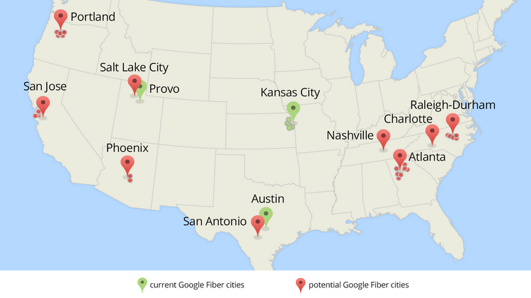 This map shows existing Google Fiber networks and additional cities Google is targeting.