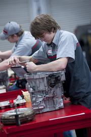 Cody Hoekstra worked on a transmission during a class in the Toyota T-TEN program at Jefferson Community and Technical College.