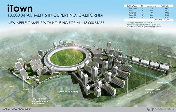 """Apple Inc. """"Spaceship"""" campus  Location: Cupertino  Housing units: 13,035   Click above to see other hypothetical renderings of Silicon Valley tech campuses with high-density housing replacing parking lots. All of these scenarios — which are not necessarily in compliance with local zoning laws — were designed by Berkeley artist Alfred Twu's First Cultural Industries."""