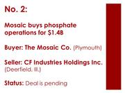 The Mosaic Co. agreed to acquire the business and assets of the phosphate mining and manufacturing operations of CF Industries Inc., a subsidiary of CF Industries Holdings Inc., for $1.4 billion in cash. The acquisition allows Mosaic to expand its existing operations in Florida with a 22,000-acre South Pasture mine and a Plant City manufacturing facility. As part of the acquisition, Mosaic also entered into a supply agreement with CF Industries.