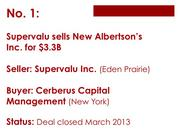 AB Acquisition, a unit of Cerberus Capital Management, acquired New Albertson's Inc. from Supervalu Inc. for $100 million in cash and $3.2 billion in assumed liabilities. New Albertson's owns and operates 877 grocery stores and pharmacies (Acme Markets Inc., Jewel-Osco Co., Shaw's Supermarkets Inc., Star Markets Co. Inc.) that represented 51 percent of the $34.77 billion in revenue originally reported by Supervalu for its fiscal year ended February 2013.  Read more here.