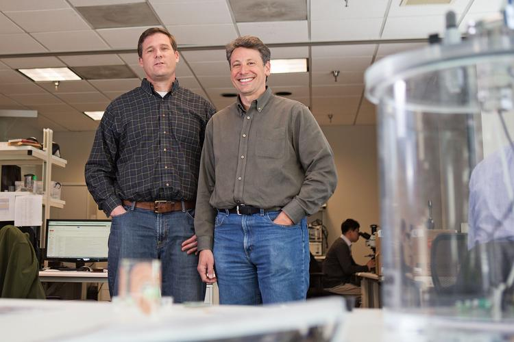 Diagnostic Biochips Chief Technology Officer Brian Jamieson and CEO Rob Collins in their Columbia facility.