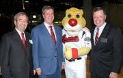 From left: Frank Ward, Mayor Karl Dean, Sounds mascot Ozzie and John Triggs