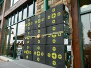 A target wall was placed in front of the Louisville Cabela's store during the grand opening.