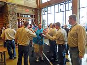 Customers received free hats upon entering the new Cabela's store at Old Brownsboro Crossing.