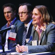 Rebecca Lucore, chief of staff at the Bayer Material Science LLC Center, Carnegie Mellon University, answers a question during a panel discussion Feb. 19 at the 2014 Pittsburgh Creative Industries Summit at CMU. Other panelists included Scott Morgan, left, of Brunner and Bhive Lab, and Mitch Swain of the Greater Pittsburgh Arts Council.