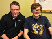 Fink, left, wearing Google Glass and software engineer Bryan Ransil, wearing the Epson glasses. The company's gesture recognition technology is based on the Android platform and the team is working to make its software device agnostic. The goal is to work with smartglasses manufacturers and get the Ari gesture recognition software standard on the devices.