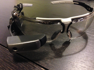 The Vuzix M100 smartglasses. These are the glasses OnTheGo Platforms Founder and CEO Ryan Fink took to Nike's campus to demonstrate his Ghostrunner app. The app allows runners to race an image of themselves as a way to keep pace with previous times. The company still has Ghostrunner but is now focused on developing gesture recognition software for smartglasses.