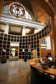 A cylinder-shaped wall encompasses the lobby area at Creative Alliance, shown here.