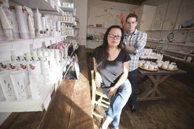 Susie Wang and Ric Kostick the founders of 100% pure a San Jose Natural skin product line who's sales have been exploding in the last few years in their 2nd store located in Santana Row in San Jose.