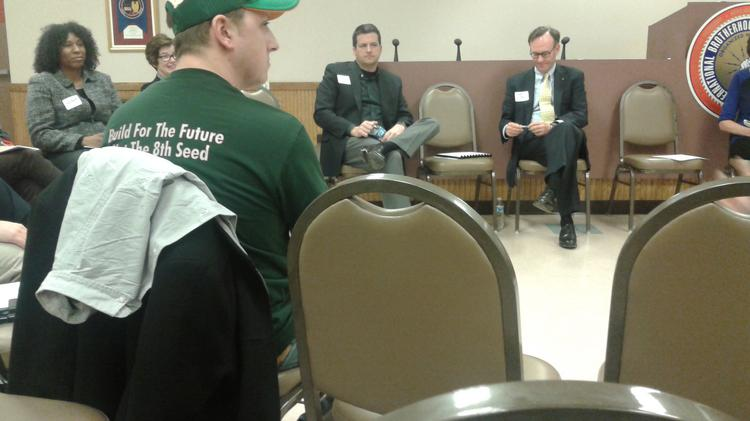 Paul Henning of Save Our Bucks (green cap) again participated in a listening session of the  Cultural and Entertainment Capital Needs Task Force.