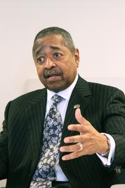 Roderick McDavis, president of Ohio University, during a visit to the Columbus Business First offices on Feb. 18, 2014.