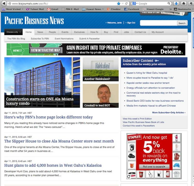 Pacific Business News updated its home page Thursday.