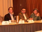 """The panel was moderated by Arthur Ircink, left, of """"Wisconsin Foodie."""" Joe Gilsdorf of Valentine Coffee Co. and Steve Kessler of Anodyne Coffee Roasting Co. also participated."""