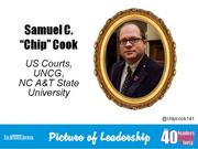 "Samuel C. ""Chip"" Cook IV, business analyst and systems administrator for United States Courts - U.S. Bankruptcy Administrator for the Middle District of North Carolina in Greensboro; lecturer at UNC-Greensboro and N.C. A&T State University  Why selected: Cook has worked concurrent careers in higher education and government for more than a decade, teaching communications courses and providing technical leadership at the U.S. Courts agency. In 2013, he helped develop a national software product for the Bankruptcy Administrator. He is a founder of The North Carolina Leadership Academy, a Kernersville charter school focused on leadership development and college preparatory academics that is now preparing to break ground on a $9 million facility."