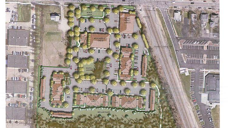 CV Real Property wants to put 64 apartments and two 7,000-square-foot retail centers along West Olentangy Street (Powell Road) just west of the CSX rail line.
