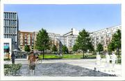 Rendering of the proposed park area at the soon-to-be redeveloped former CU Health Sciences Center.