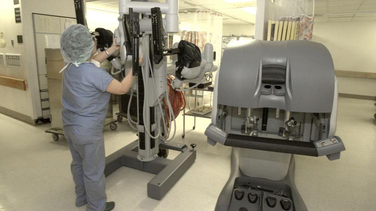 Intuitive Surgical's da Vinci Surgical System is displayed at Columbia Presbyterian Medical Center in New York.